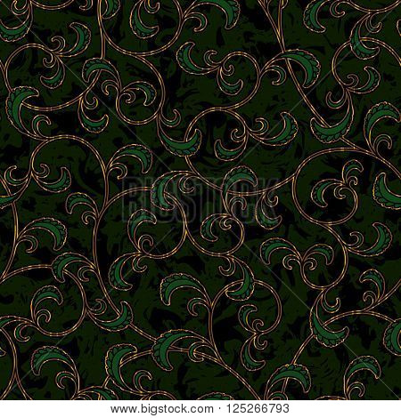 seamless floral dark green damask brocade pattern background vector