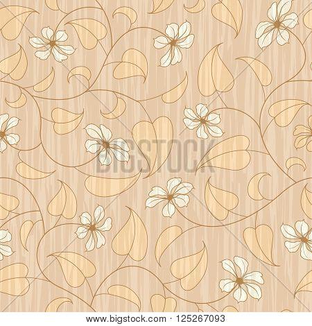 abstract beige flourish floral swirl seamless background pattern