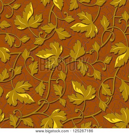 vector contour autumn gold leaf seamless background