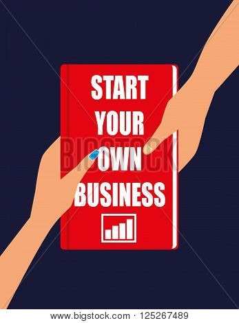 Male and Female hands holding or passing a hardback book with the title Start Your Own Business on the front cover