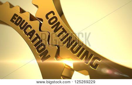 Golden Metallic Cogwheels with Continuing Education Concept. Continuing Education - Concept. Continuing Education on the Mechanism of Golden Metallic Gears with Glow Effect. 3D.