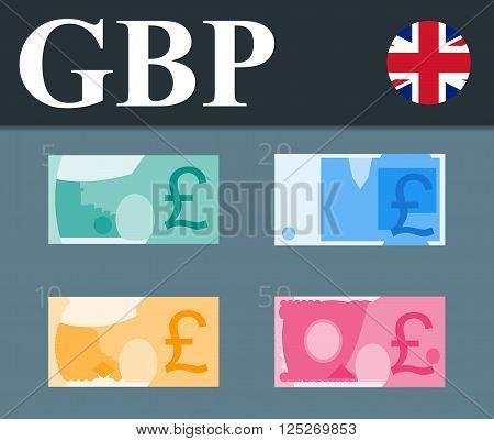 Abstract 50 pounds, 20 pounds, 10 pounds, 5 pounds  banknotes.