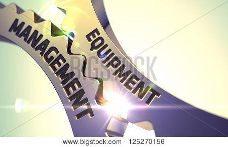 Equipment Management Golden Metallic Cogwheels. Equipment Management on Mechanism of Golden Cogwheels. Equipment Management - Illustration with Lens Flare. 3D.
