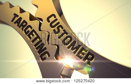 Customer Targeting on the Mechanism of Golden Metallic Gears with Lens Flare. Customer Targeting on Golden Cogwheels. Customer Targeting - Technical Design. Customer Targeting - Concept. 3D.