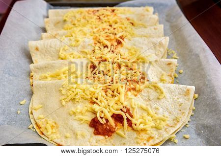 Homemade Mexican Food Burrito, Fajitas, Quesadillas, Enchiladas Or Tacos.