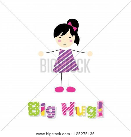 little black haired girl in purple striped dress spreding arms with letters big hug on white background