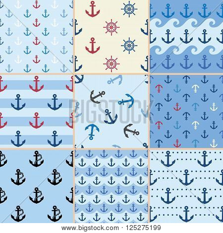 sea anchor pattern, sea pattern, anchor pattern, summer pattern, blue pattern, marine pattern, ocean pattern, beach pattern, sea background, summer background, anchor background
