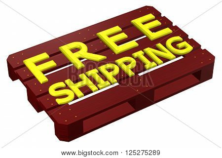 Mahogany pallet with words free shipping isolated on white background. 3D rendering.