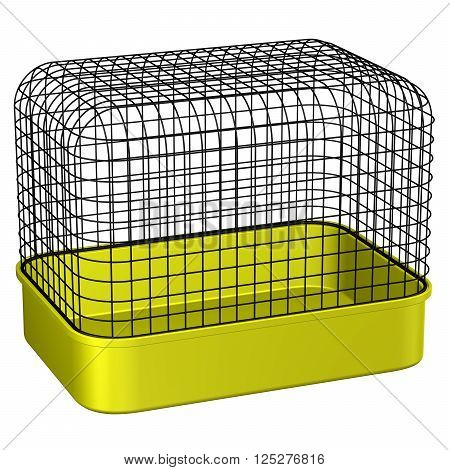 Pet Cage isolated on white background. 3D rendering.