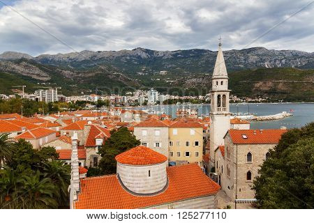 Red roofs in Budva Old town, Montenegro. Top view