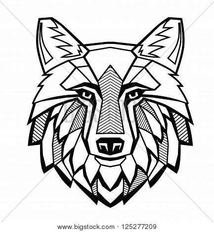 vector black Wolf head on white background