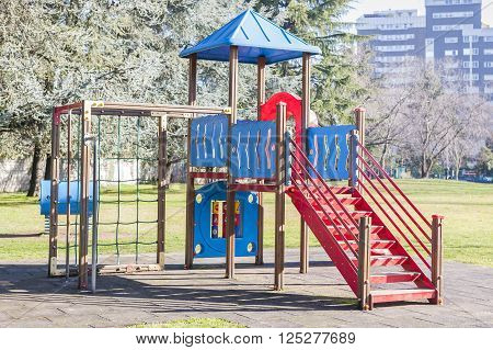 Plastic playground in the park.  Chidren's playground.