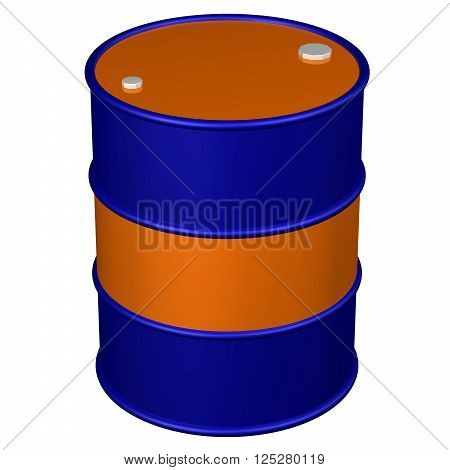 Colored barrel isolated on white background. 3D rendering.