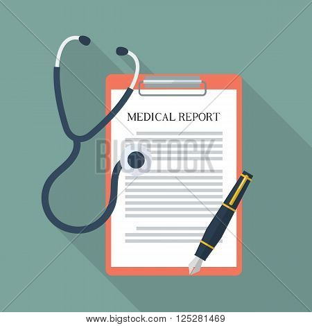 Medical report with stethoscope and pen. Flat style with long shadow