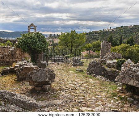 Ruins of Stari Bar ancient fortress in Montenegro.