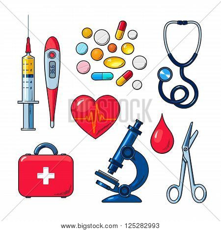 Tools for medical research, the icons on the white background, colored vector objects medical sketch style hand-drawn, heart, icons, microscope, thermometer, syringe, medicines, first aid kit