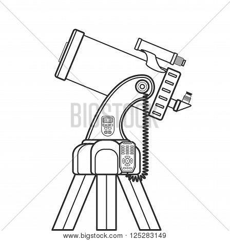 Vector Outline Catadioptric Telescope Illustration.