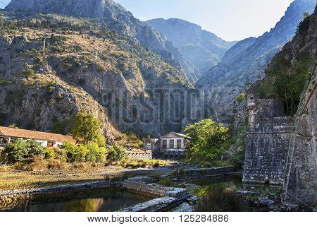 Wall of the old town of Kotor, sun day in Montenegro.
