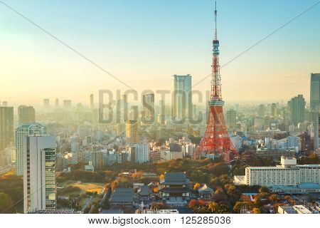 Tokyo Tower With Tokyo Cityscape in Late Evening