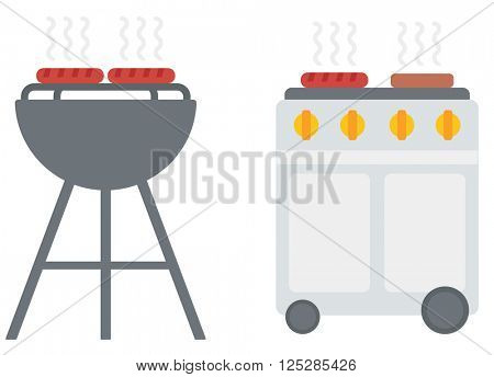 Kettle barbecue grill with cover and barbecue gas grill.