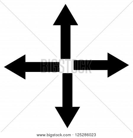 Expand Arrows vector icon. Expand Arrows icon symbol. Expand Arrows icon image. Expand Arrows icon picture. Expand Arrows pictogram. Flat black expand arrows icon. Isolated expand arrows icon graphic.