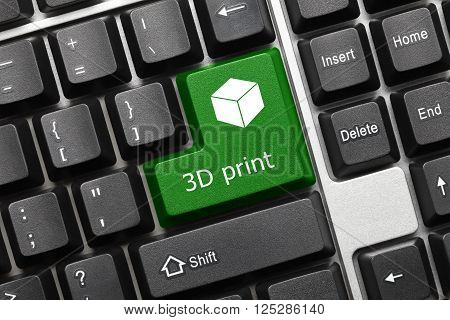 Conceptual Keyboard - 3D Print (green Key With Cube Symbol)