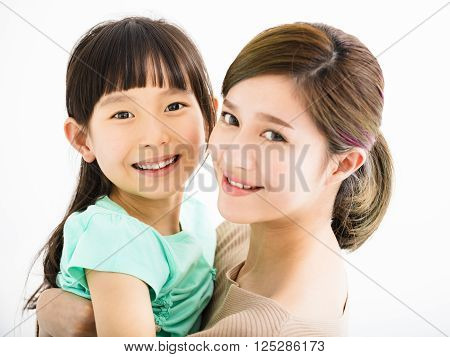 Happy asian  family mother and little girl