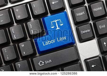 Close-up view on conceptual keyboard - Labor Law (blue key) poster
