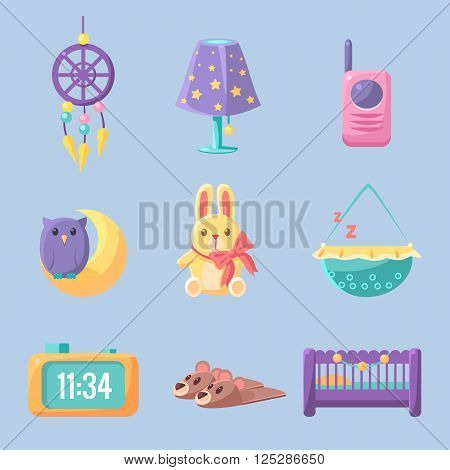 Baby Bedroom Decoration Set Of Flat Vector Cartoon Style Isolated Cute Girly Drawings On Light Blue Background