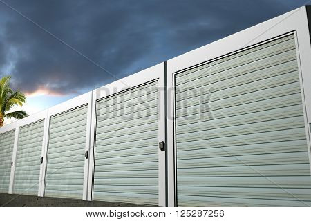 3d Illustration of storage units boxes photographed at sunset