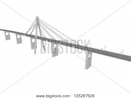 3D bridge and train, City buildings view vector illustration, buildings, , bridges on white  background. 3D arcitecture 1