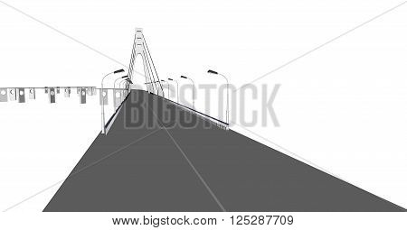 3D bridge and train, City buildings view vector illustration, buildings, , bridges  on white  background. 3D arcitecture 2