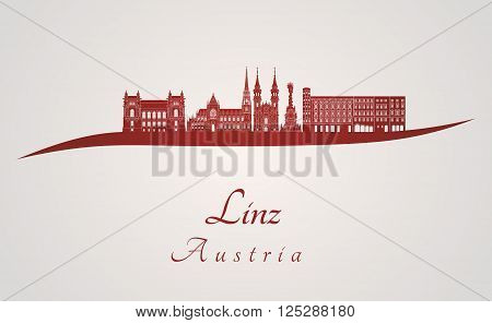 Linz skyline in red and gray background in editable vector file