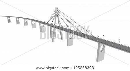 3D bridge and train, City buildings view vector illustration, buildings, , bridges  on white  background. 3D arcitecture 7