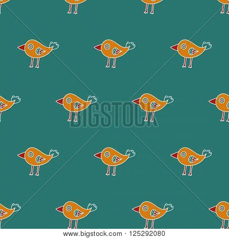 Small childish bird seamless pattern on a blue background. The orange cartoon bird with a big red beak. Vector illustration