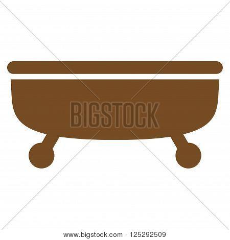 Bathtub vector icon. Bathtub icon symbol. Bathtub icon image. Bathtub icon picture. Bathtub pictogram. Flat brown Bathtub icon. Isolated Bathtub icon graphic. Bathtub icon illustration.