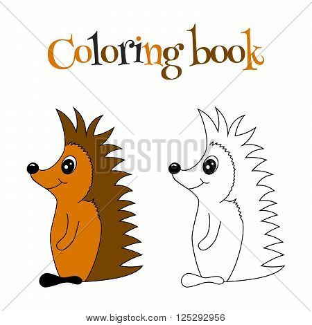 Coloring book of cute hedgehog with pattern