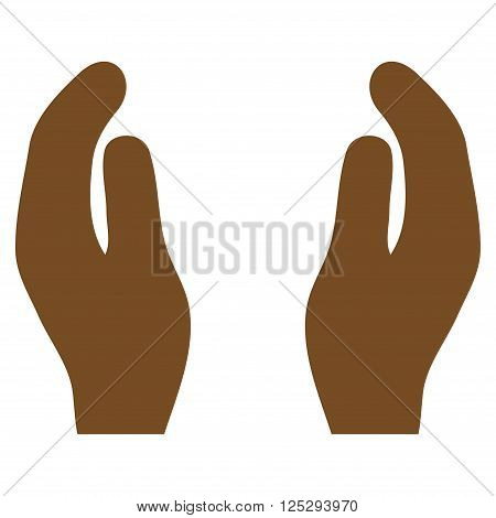 Care Hands vector icon. Care Hands icon symbol. Care Hands icon image. Care Hands icon picture. Care Hands pictogram. Flat brown care hands icon. Isolated care hands icon graphic.