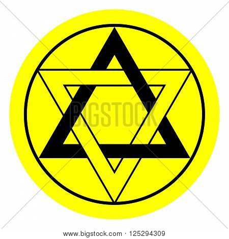 Six pointed star in black and yellow colors