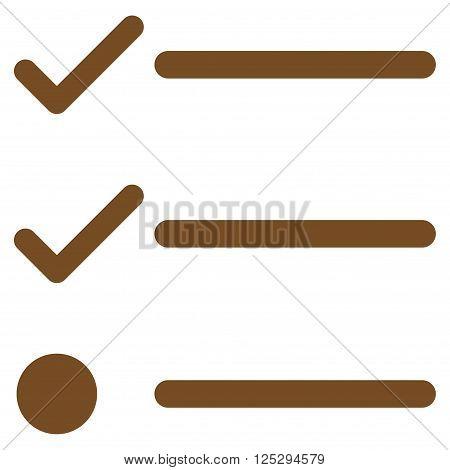 Checklist vector icon. Checklist icon symbol. Checklist icon image. Checklist icon picture. Checklist pictogram. Flat brown checklist icon. Isolated checklist icon graphic.