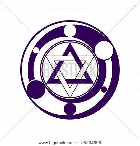 Phantasy six pointed star symbol in dark violet color