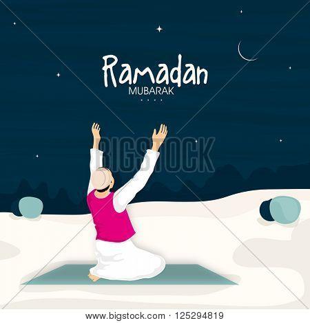 Religious Muslim Man reading Namaz (Islamic Prayer) in night for Holy Month of Fasting, Ramadan Kareem celebration.