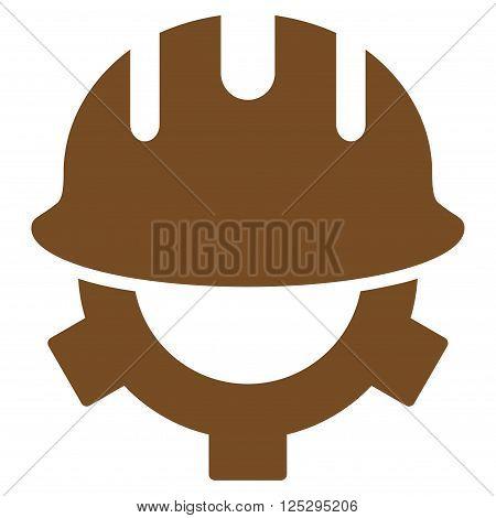 Development Helmet vector icon. Development Helmet icon symbol. Development Helmet icon image. Development Helmet icon picture. Development Helmet pictogram. Flat brown development helmet icon.