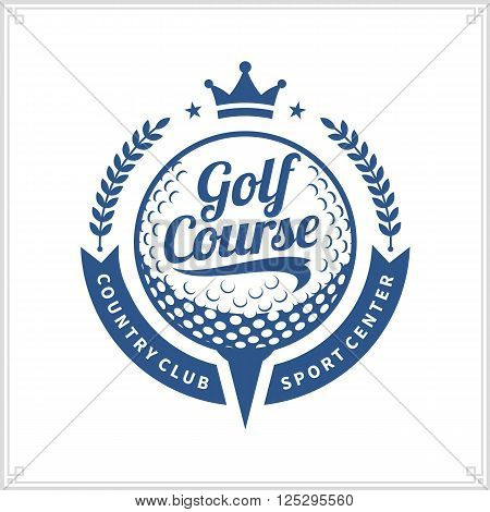 Golf club logo. Golf label with sample text. Golf icon for golf tournaments organizations and golf country clubs.