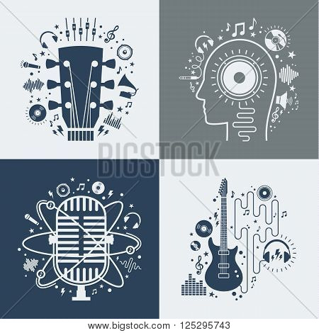 Set of vector music illustrations. Vector music icons for audio store recording studio label podcast and radiostation branding and identity. Creativity and inspiration music icons