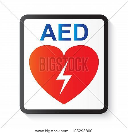 AED ( Automated External Defibrillator ) heart and thunderbolt ( image for basic life support and advanced cardiac life support )