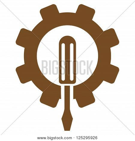 Engineering vector icon. Engineering icon symbol. Engineering icon image. Engineering icon picture. Engineering pictogram. Flat brown engineering icon. Isolated engineering icon graphic.