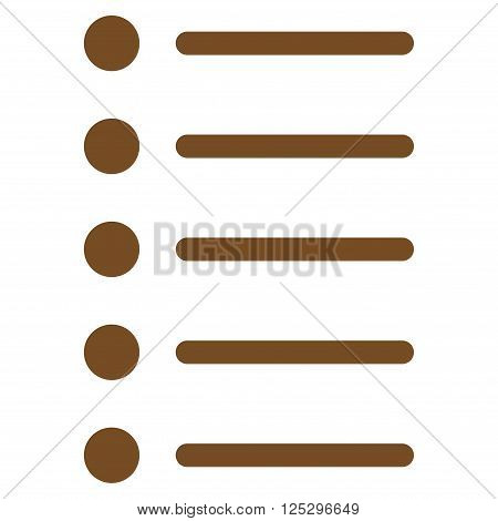 Items vector icon. Items icon symbol. Items icon image. Items icon picture. Items pictogram. Flat brown items icon. Isolated items icon graphic. Items icon illustration.