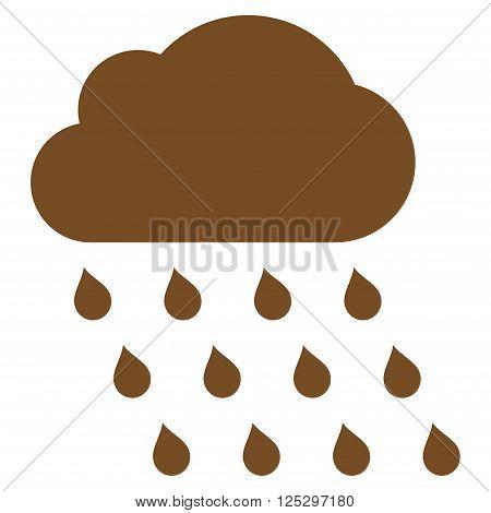 Rain Cloud vector icon. Rain Cloud icon symbol. Rain Cloud icon image. Rain Cloud icon picture. Rain Cloud pictogram. Flat brown rain cloud icon. Isolated rain cloud icon graphic.