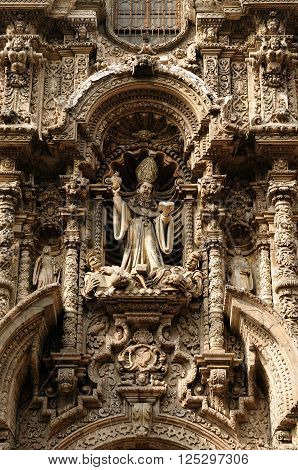 South America, Lima - capital of Peru. Cityscape - Plaza de Armas - main squer in town - architecture detail. The picture presents Iglesia de san Agustin